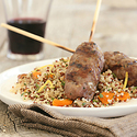 Ground American Lamb Kebabs with Dried Fruit-Mint Quinoa